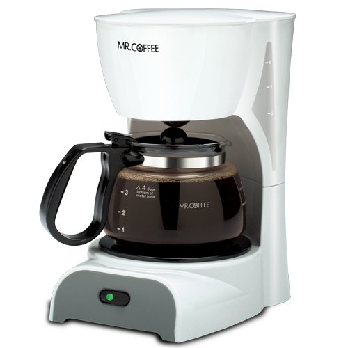 Mr. Coffee DR4MC 4-Cup Coffeemaker, White