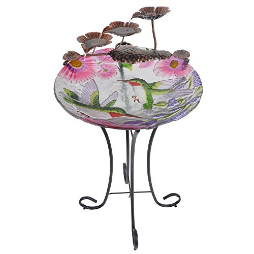 Outdoor Hand Painted Hummingbird Glass Fountain