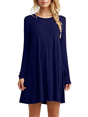 Women's Plain Cute Simple Tshirt Dress (L, Blue)
