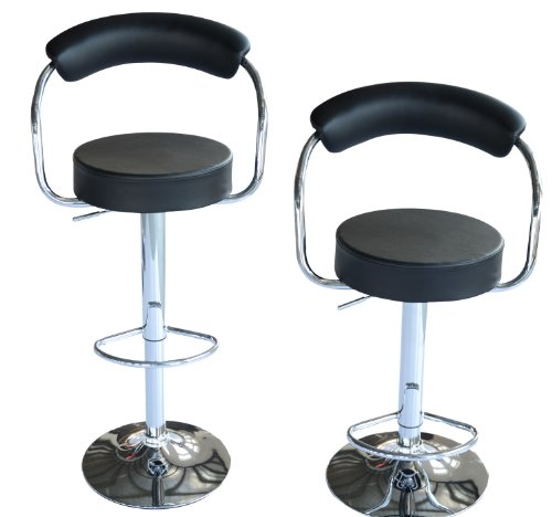 HOMCOM Modern Swivel Bar Stool Hydraulic Pub Barstool PU Leather Adjustable Set of 2 Black