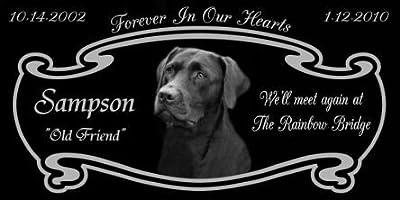 12 x 6 Lazer Gifts Personalized Black Granite Pet Memorial Marker Style Sampson