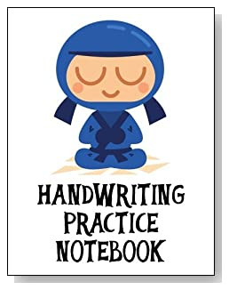 Handwriting Practice Notebook For Boys - Cute little blue ninja makes an exciting cover for this handwriting practice notebook for younger boys.