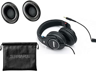 Shure SRH440 Professional Studio, Dj's, Keyboard practice Around-Ear Stereo Headphones with a pair of extra Replacement Ear Cushions