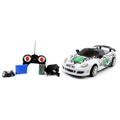 Electric Full Function 1:24 Porsche Carrera GT Graffiti RTR RC Drift Car (Colors May Vary) Remote Control w/ Rechargeable Batteries and Spare Tires