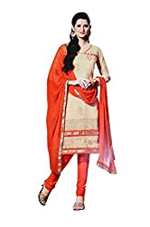 LT Women's Silk Cotton Beige and Orange Semi-Stitched Salwar Suit Dress Material With Dupatta