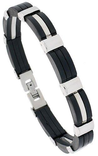 Stainless Steel & Rubber Bracelet 3/8 inch wide, 8 inch long