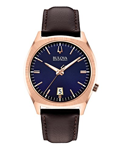 Bulova Accutron II Men's Quartz Watch with Blue Dial Analogue Display and Brown Leather Strap 97B133