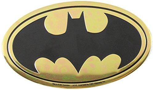 DC Comics Originals Batman Logo On Embossed Metal Emblem Sticker, Yellow, 9cm