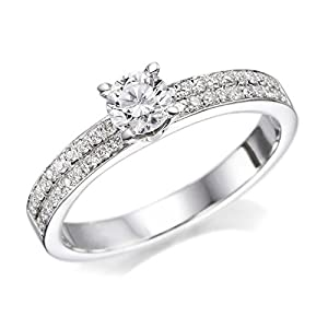 Diamond Engagement Ring in 18K Gold / White Certified, Round, 0.71 Carat, H Color, VS2 Clarity
