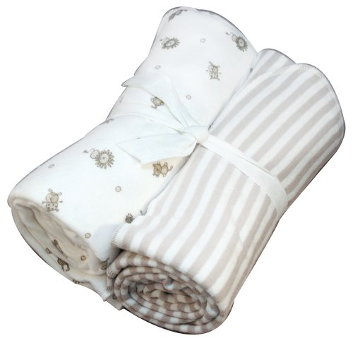 Under the Nile Nature's Nursery Flannel Swaddle Blanket Set, Tan Stripes/Animal Print
