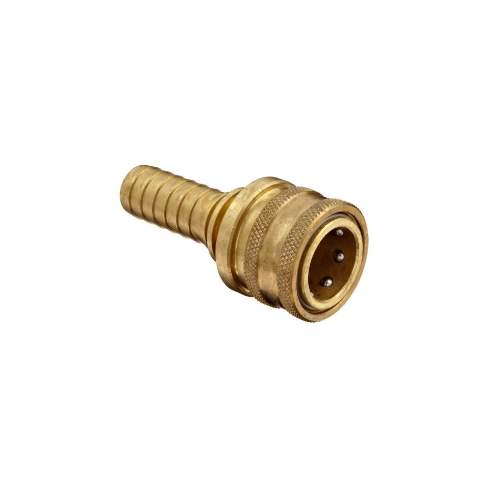 Dixon 6ES6 B Brass Quick Connect Hydraulic Fitting, Coupler, 3/4 Straight Coupling, 3/4 Hose ID Barbed