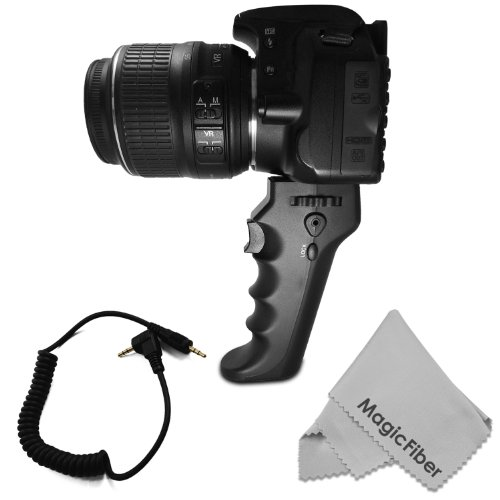 Camera Pistol Grip With Trigger For Shutter Release (Rs-60E3 Replacement)- Compatible With Canon Eos Rebel T5I T4I T3I T3 T2I T1I Xt Xti Xsi Cameras + Magicfiber Microfiber Lens Cleaning Cloth
