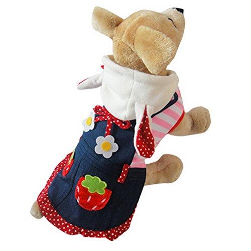 [PETLOVE Small Dog Clothes for Spring Dog Strawberry Bunny Hoodie Costume Denim Dog Dress Striped Sweatshirt Pink] (Mean Girls Bunny Halloween Costume)