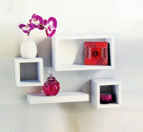 Set of 4 White Wooden Wall Mounted Retro Floating Cube Shelving Storage Display Shelf Shelves