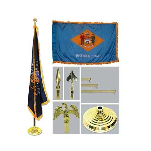 Delaware 4Ft X 6Ft Flag Telescoping Flagpole Base And Tassel