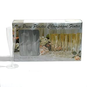 Northwest Enterprises Hard Plastic One Piece 5-Ounce Champagne Flutes, Clear, 10 Count by Party Essentials