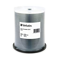 Verbatim 95256 700 MB 52x 80 Minute Silver Inkjet Printable Recordable Disc CD-R, 100-Disc Spindle