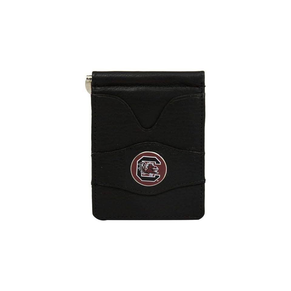 NCAA South Carolina Gamecocks Black Leather Billfold Wallet