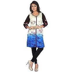 Darbari Women's Raw Silk Kameez (OL-223_White Blue_Xl)