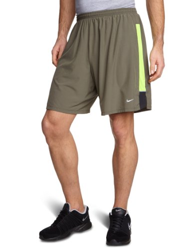 NIKE Herren Kurze Hose 7 Stretch Woven 2-in-1, sequoia/electric green/reflective silver, XL, 504672-355