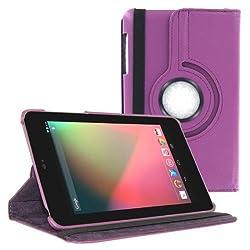 2010kharido 360 Degree Rotating Smart Leather Case Cover for Asus Google Nexus 7 1st gen 2012 Model Tablet Purple