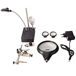 MG16129-C 5-LED Auxiliary Clip Magnifier with Soldering Stand - Black + Silver (EU Plug / 110-240V / 3xAAA)