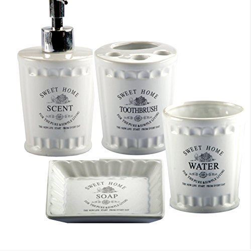 Badserie-SWEET-HOME-Keramik-WC-Set-Badezimmerset-Becher-Schale-Seifenspender-Seifenspender