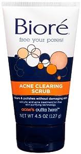 Biore Acne Clearing Scrub (1% Salicylic  Acid), 4.5 Ounce