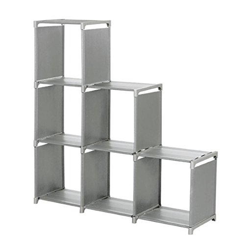 Storage Cabinet, HOOHI 3-Tier Multipurpose Shelf Space-Saving Storage Cube Closet Organizer Shelf 6-cube Cabinet Bookcase (Gray) (Foldable Display Shelves compare prices)