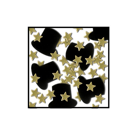 Beistle Fanci-Fetti Top Hats and Mini Stars, 1-Ounce, Black and Gold