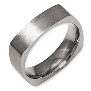 Titanium Square 6mm Satin Band Size 7.5