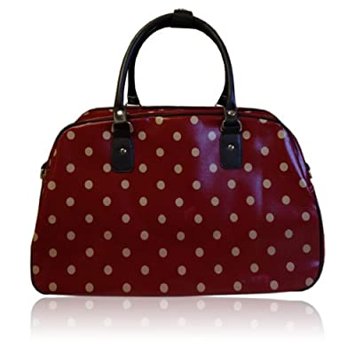 Oilcloth Polka Dot/Flower/Owl Print Holdall Weekend Travel Bag (POLKA DOT DARK RED)