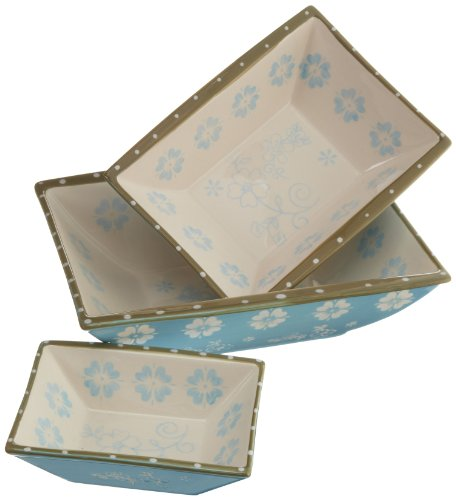 Dii Crystal Blue Vintage Flower Ceramic Serving Dishes, Set Of 3