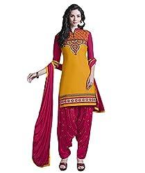 Ank Designer Jolly Yellow & Rani SemiStitched Partywear Wedding Patiala Salwar Suit