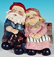 Mr + Mrs Snoozing Garden Gnome on Bench from Mayinc