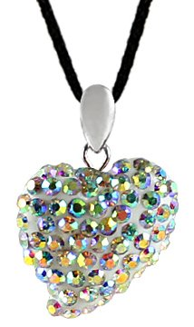 Silver crystal heart pendant made with swarovski crystals - Aurora colour swarovski crystals - bling bling!! - crytal ball spins - necklace is adjustable size 16