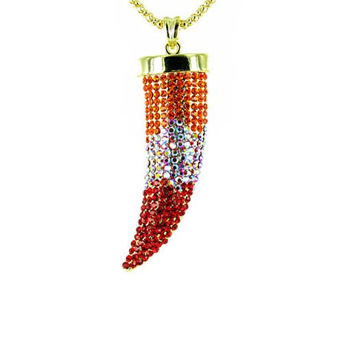 Orange on Gold Plated Large Bling Claw Tusk Horn Necklace