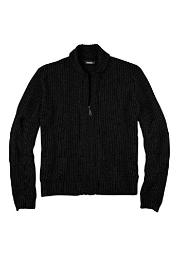 Kingsize Men's Big & Tall Shaker Knit Zip-Front Cardigan, Black Big-5Xl (King Size Mens Clothing compare prices)