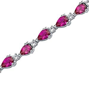 Chic and Beautiful: Pear Shape Ruby & White CZ Gemstone Bracelet in Sterling Silver Rhodium Nickel Finish from peora