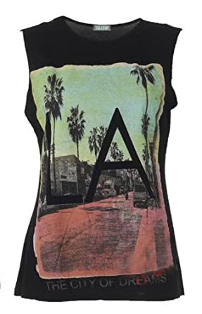 "Womens Graphic Print ""LA The City of Dreams ""Slogan Print Vest Top Tee T-Shirt /Size 8-14, £5.99 (M/L  UK(12-14), Black)"