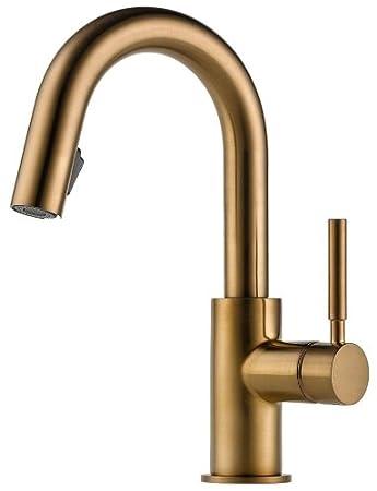 Brizo 63920LF-BZ Solna Single Handle Pull-Down Bar/Prep Faucet, Brilliance Brushed Bronze