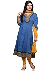 Utsav Fashion Women's Blue Cotton Jacquard Readymade Anarkali Churidar Kameez-Large