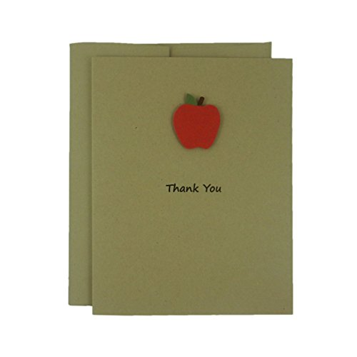 apple-thank-you-greeting-card-a2-recycled-kraft-brown-card-stock-with-envelope-single-note-card