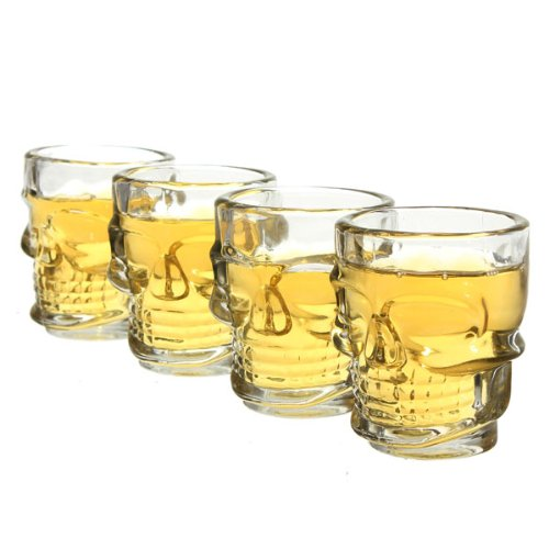 Crystal Skeleton Skull Head Shot Glasses Cup Mug 4Pcs One Set