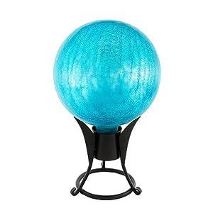 Achla Designs 10-Inch Crackle Gazing Globe, Teal