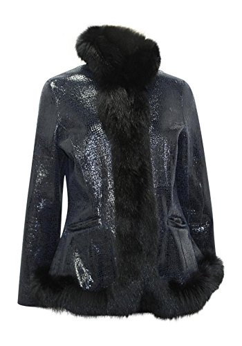New Sheared Nutria Fur Doubleface Jacket w/ Fox Fur Border Trim Medium Black<br />