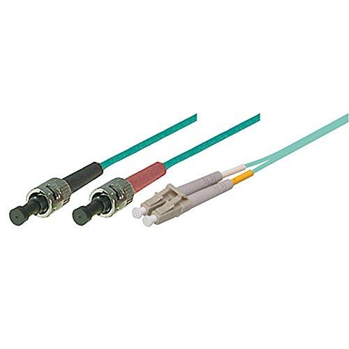 TPFNet Premium 1,00m LWL Kabel – LWL Patchkabel OM3 ST/LC – LWL Multimode Patchkabel OM3 ST/LC – LWL Netzwerkkabel OM3 ST/LC – LWL Duplex Patchkabel OM3 ST/LC – Lichtwellenleiterkabel OM3 ST/LC – Glasfaser-Netzwerkkabel – LWL Fiber Channel (2x ST Stecker an LC Duplex Stecker- 50/125µm – für 10 Gigabit/s) – türkis