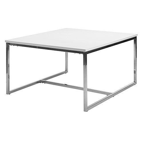 lounge-zone Couchtisch Tisch Wohnzimmertisch ZION weiß Stahl verchromt 80x80cm 13329