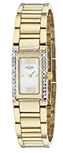 Rotary Women's Quartz Watch with Mother of Pearl Dial Analogue Display and Gold Stainless Steel Bracelet LB02423/41