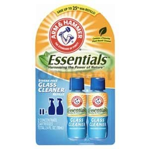 Arm & Hammer Essentials Glass Cleaner Refill - 2 Concentrated 2.4 Fl. Oz. Cartridges